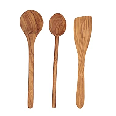 Scanwood Olive Wood Utensil Spatula Spoon Ladle 3 Piece Set 12 Inch