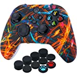 YoRHa Silicone Printing Thickened Cover Skin Case for Xbox Series X/S Controller x 1(Night Beam) with Thumb Grips x 10