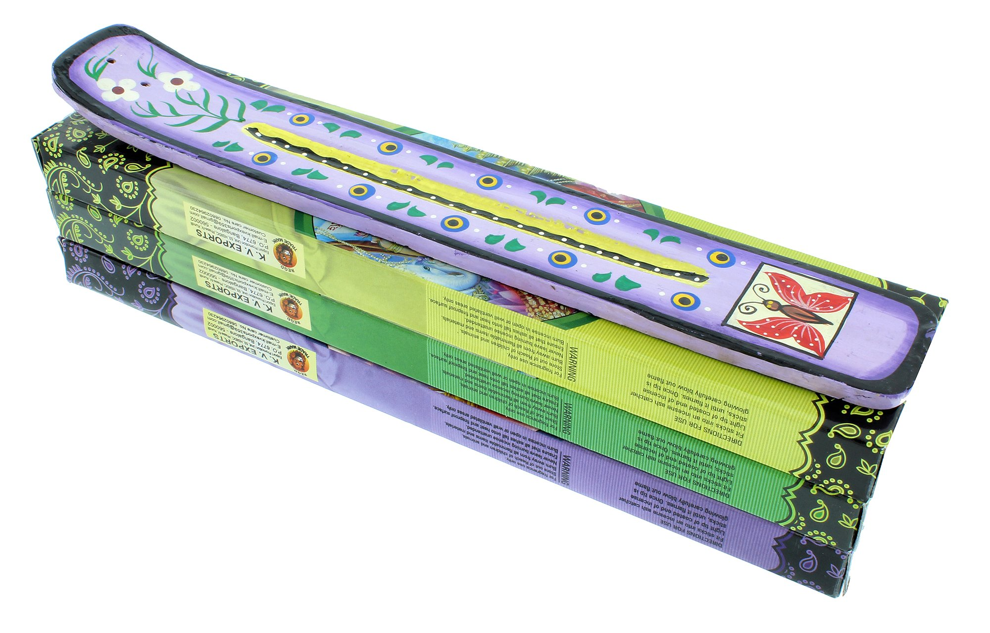 Zen Mood Incense Gift Pack - 3 Boxes of Assorted Indian God Incense and 1 Hand Painted Incense Holder with Butterfly Design - Purple