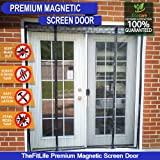 TheFitLife Double Door Magnetic Screen - Heavy Duty Mesh Curtain with Full Frame Velcro and Powerful Magnets, Snap Shut Automatically for Patio, Sliding Or Large Door, Fits Doors up to 72''x80'' Max