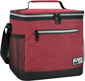 Large Insulated Lunch Bag for Women Men, 10L Leakproof Thermal Reusable Lunch Box for Adult & Kids by Tirrinia, Tall Meal Prep Lunch Cooler Tote for Office Work, Red