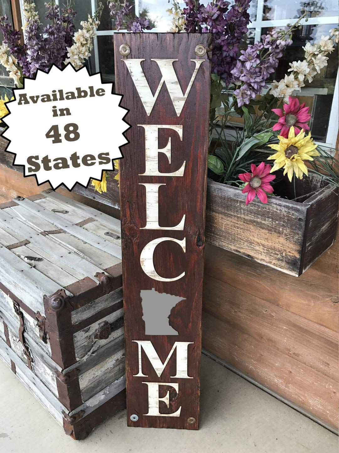 MINNESOTA State SIGN WELCOME *FARM, HOME, LAKE, Rustic Wood *AZ MD CO WA NC SC IL OH PE NJ CA VA KS TN*LARGE XL *Inside *Outside *FRONT DOOR, Porch, MN
