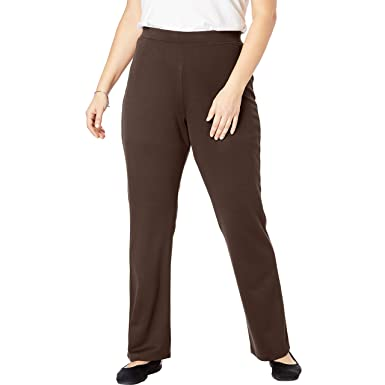 92d518b9fd6c0 Woman Within Women's Plus Size Tall Bootcut Ponte Stretch Knit Pant -  Chocolate, ...