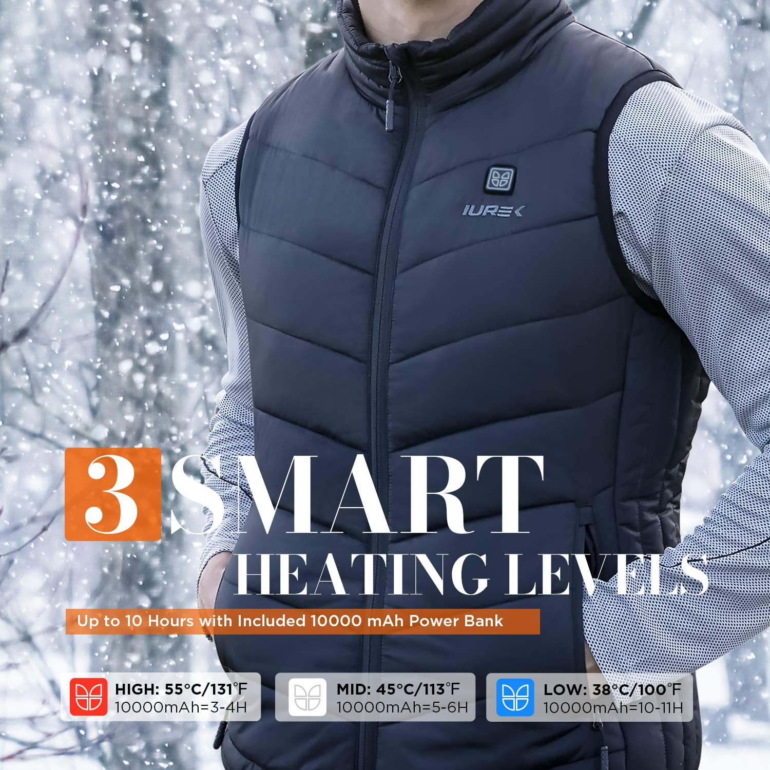 IUREK Mens Lightweight Heated Vest with 7.4V 10000mAh Battery Pack