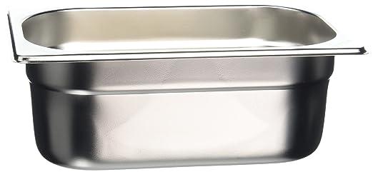 Bandeja Vogue de acero inoxidable, tamaño Gastronorm de 1/4, 100 mm de profundidad y 2,5 litros de capacidad, ideal para alimentos