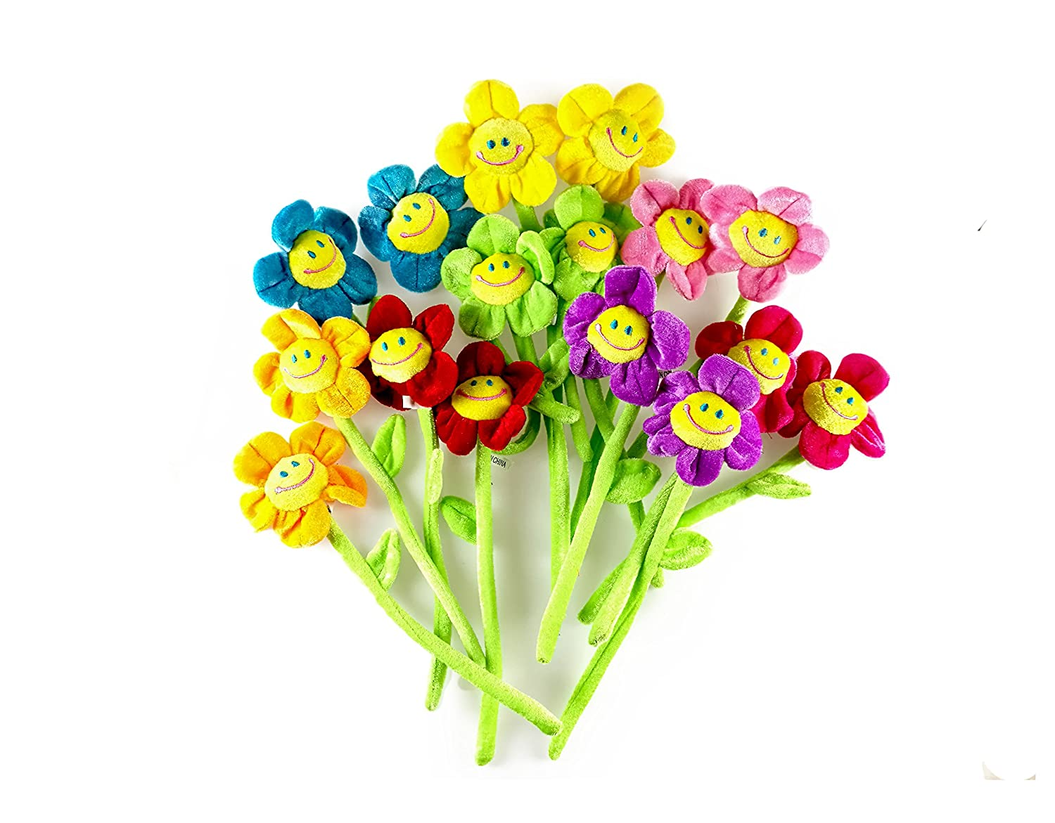 Amazon party zealot 16pcs daisy plush flowers smiley face 13 amazon party zealot 16pcs daisy plush flowers smiley face 13 inches long bendable stems 8 assorted colors happy smiles sunflowers gift for boys and izmirmasajfo