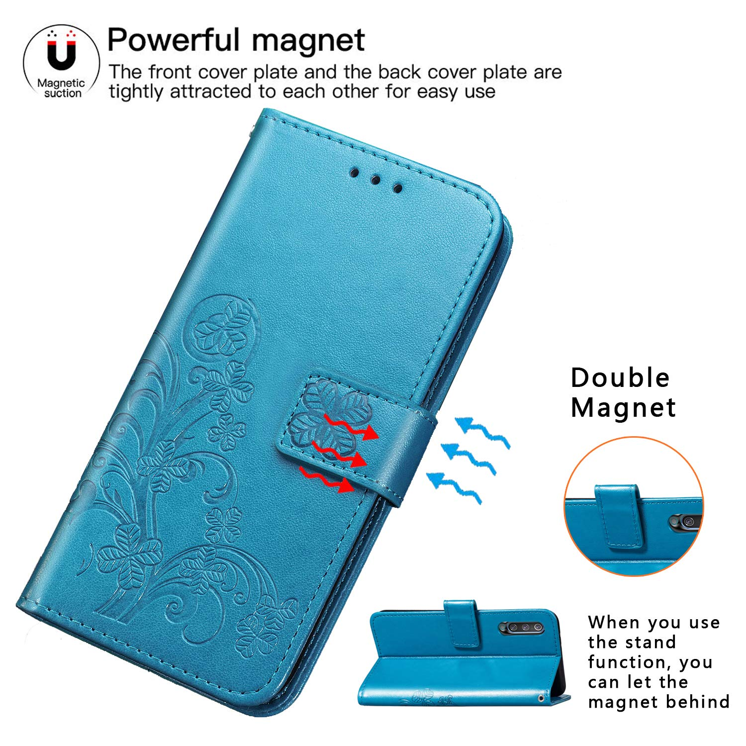 Halnziye Case for Samsung Galaxy A50, Magnetic Closure Soft TPU Flip Leather Wallet Phone Case with Kickstand Card Slots Designed for Samsung Galaxy A50 Cover - Blue