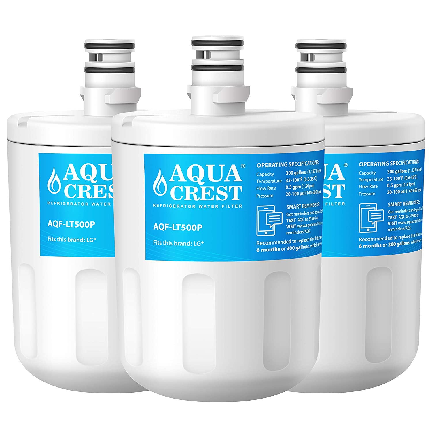 AQUACREST Refrigerator Water Filter, Compatible with LG 5231JA2002A, LT500P, GEN11042FR-08, LFX25974ST, ADQ72910901, ADQ72910907, Kenmore 9890, 46-9890, 469890 (Pack of 3)