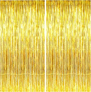 BEISHIDA 2 Pack Foil Fringe Curtain,Gold Tinsel Metallic Curtains Photo Backdrop for Wedding Engagement Bridal Shower Birthday Bachelorette Party Stage Decor(3.28 ft x 6.56 ft)