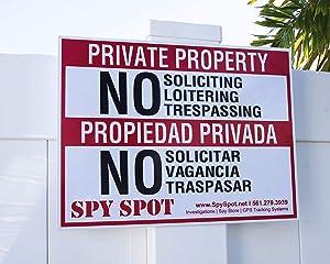 """Private Property No Soliciting Loitering Trespassing Warning Sign   English & Spanish 15.5""""x12"""" Heavy Duty Plastic Weatherproof Outdoor Indoor   Propiedad Privada No Solicitar No Vagancia No Traspasar"""