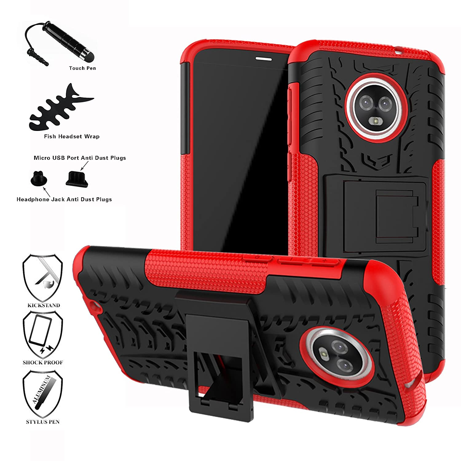 Moto G6 2018 Case, Mama Mouth Shockproof Heavy Duty Combo Hybrid Rugged Dual Layer Grip Cover with Kickstand for Motorola Moto G (6th Generation) 5.7' (with 4 in 1 Packaged), Red bigmouthstore