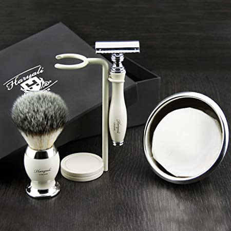 Preimuim Afeitado Kit Regalo Para Hombre(Cuchilla de afeitar,Cepillo,Cuenco,soporte)Caja Marca