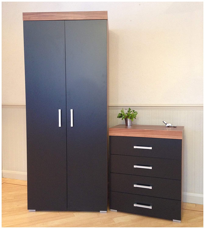 DRP Trading 2 Door Wardrobe & 4 Drawer Chest in Black & Walnut Bedroom Furniture Set