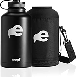Stainless Steel Insulated Beer Growler - 64 oz Water Bottle - Includes Carry Case - Double Wall Vacuum Sealed Wide Mouth Design. Five Year Guarantee! Perfect Temperature Control from eegl