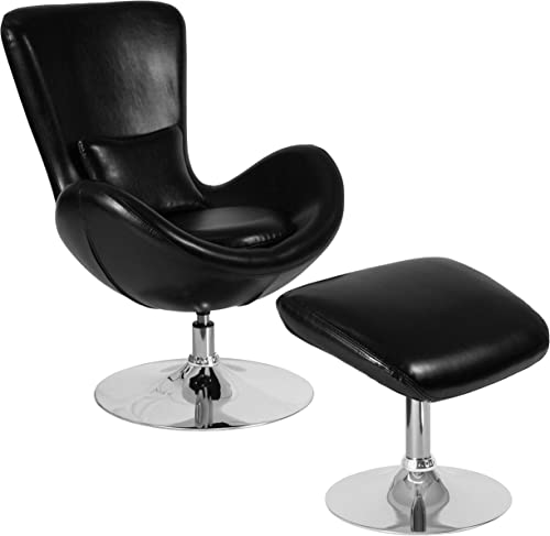 Flash Furniture Egg Series Black LeatherSoft Side Reception Chair with Ottoman