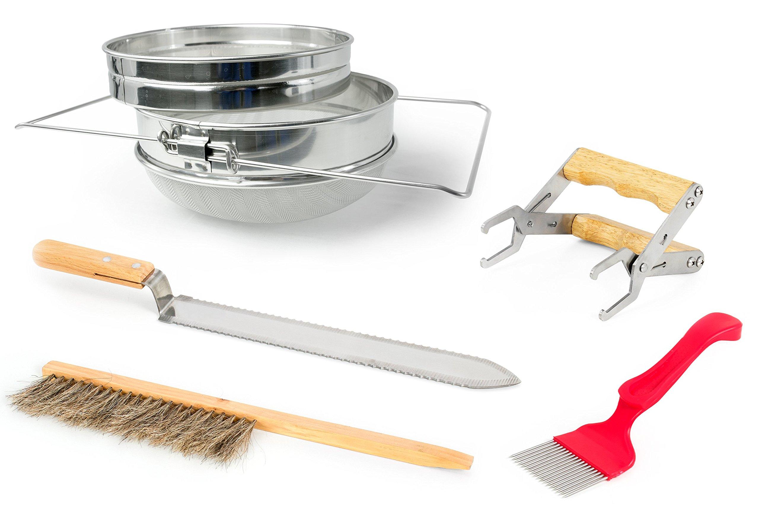 VIVO Honey Harvesting Beekeeping Starter Tool Kit   Set of 5 - Double Sieve Honey Strainer, Frame Holder, Brush, Uncapping Knife, Uncapping Fork (BEE-KIT4) by VIVO