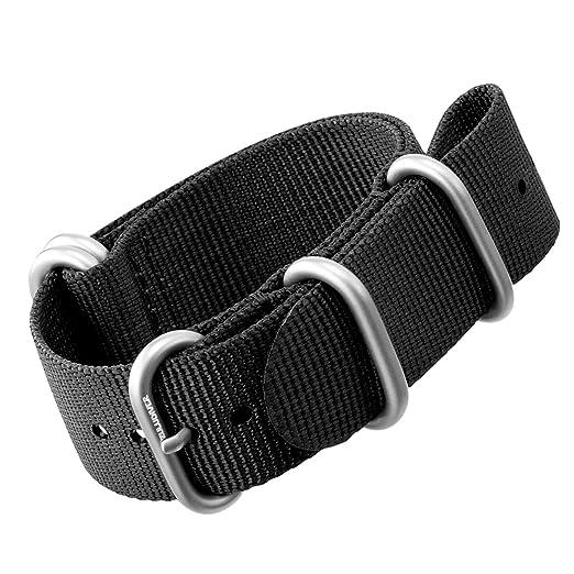5 opinioni per Cinturino di orologio di nylon da ZULUDIVER® Fibbie ZULU Spazzolato, Nero, 22mm