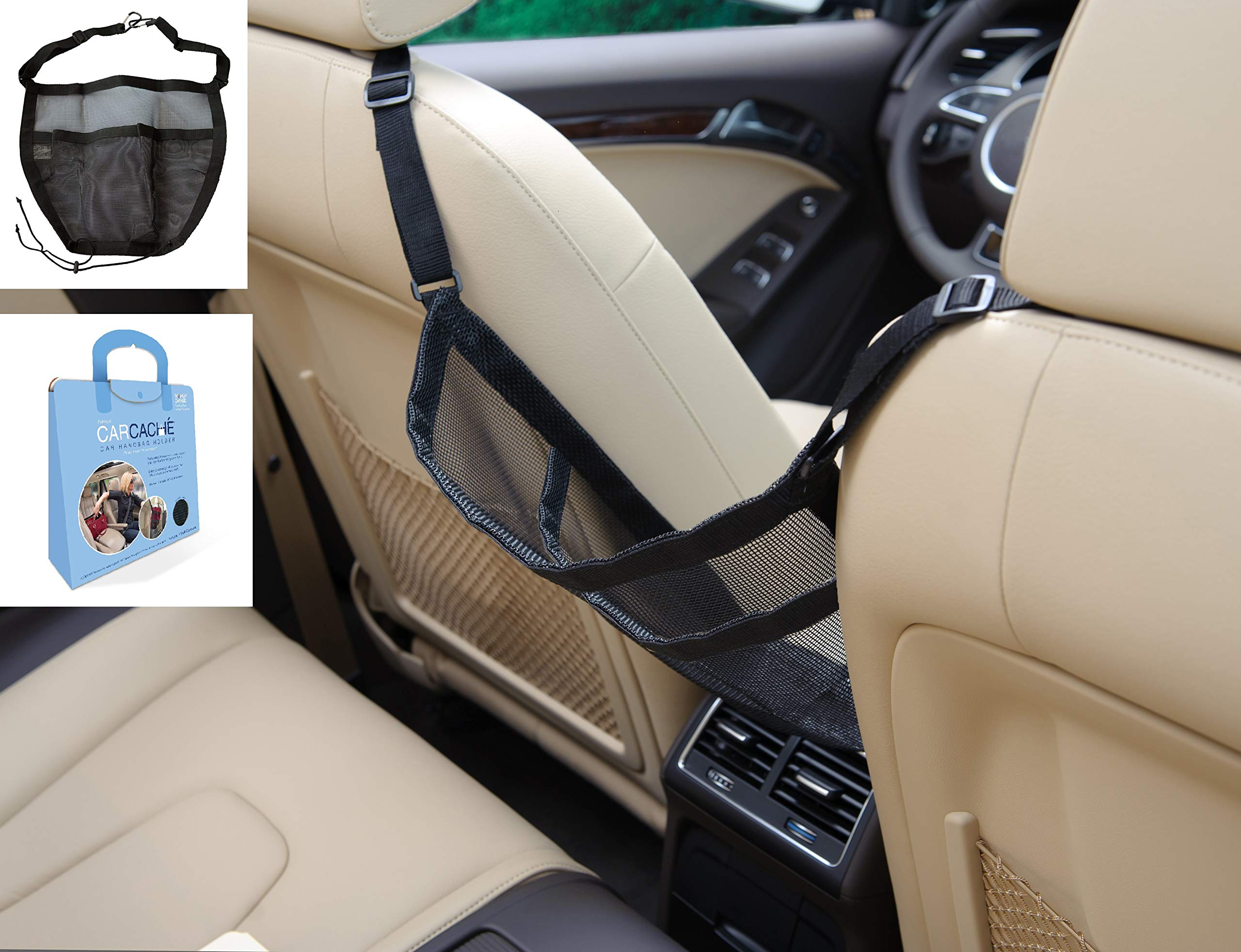 Car Cache - Handbag Holder: Storage for Purse & Pocket for Smaller Items - Helps as Dog Barrier, Too! Original Invention, Patented