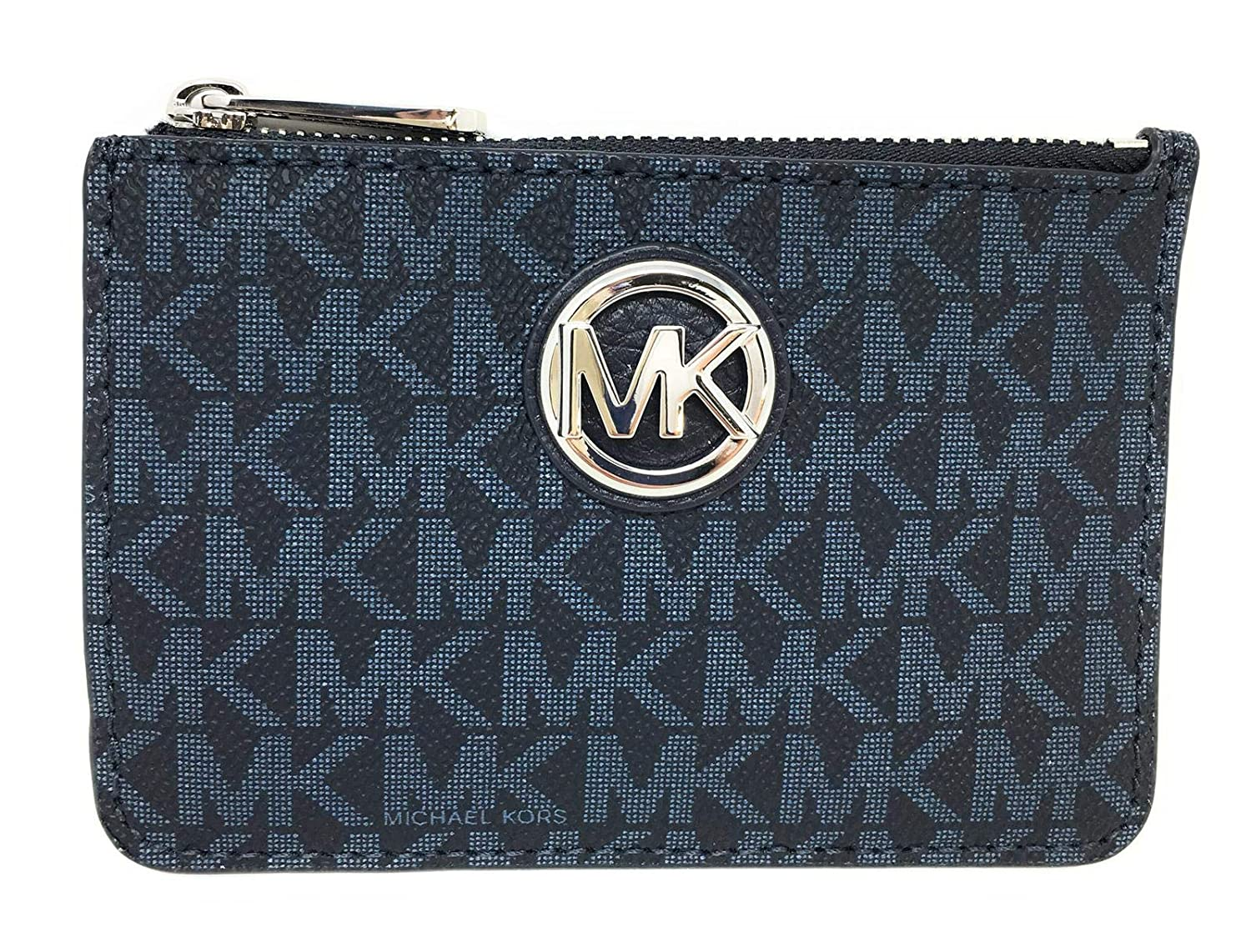 1eceadd7da49 Amazon.com: Michael Kors Fulton Small Top Zip ID Coinpouch with key Chain  (Admiral): Clothing