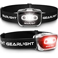 GearLight LED Head Lamp - Pack of 2 Outdoor Flashlight Headlamps w/ Adjustable Headband for Adults and Kids - Hiking…