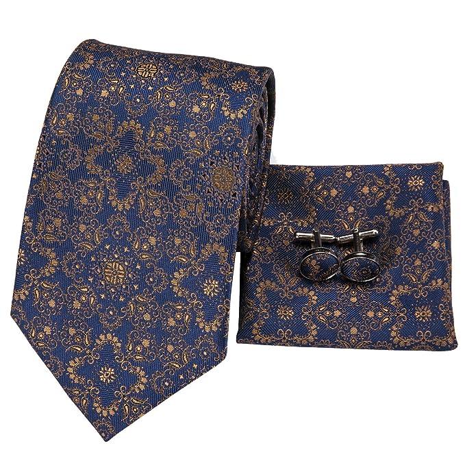 204bff29e9f27 Hi-Tie Mens Floral Tie Novelty Necktie Handkerchief Cufflinks set Jacquard  Woven Silk Tie Set
