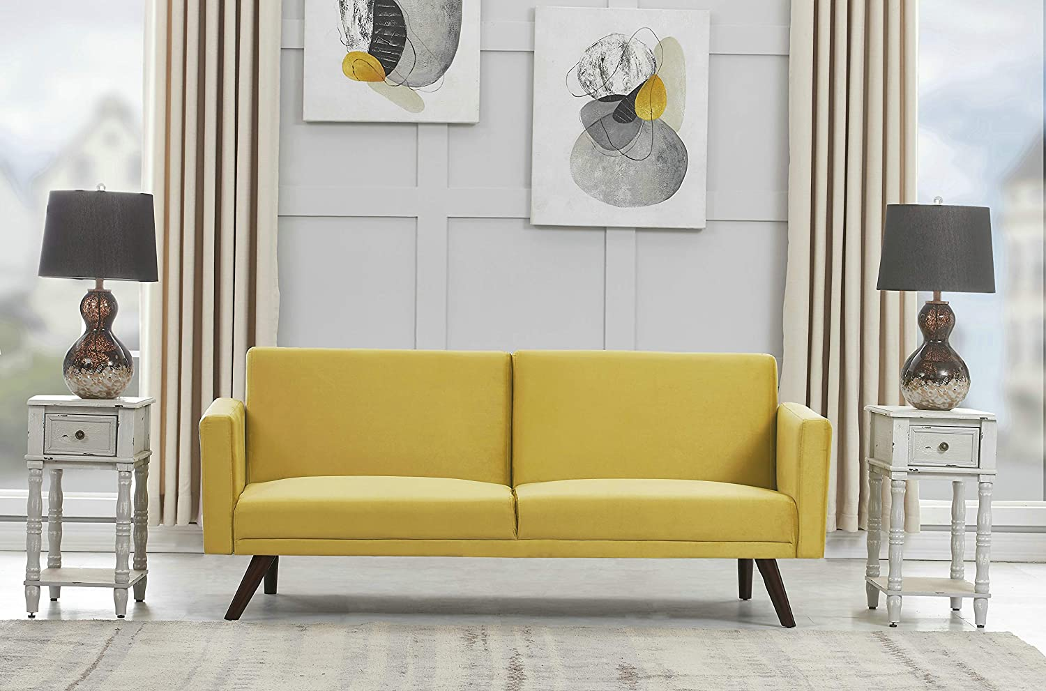 US Pride Furniture SB 9084 Sofabed, Strong Yellow