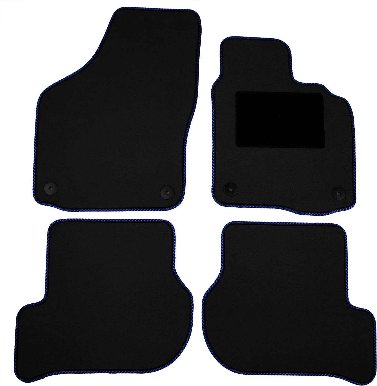 Cosmos V3561LUBL10HP Luxury Carpet Black Tailored Floor Mats with Black Binding with Heelpad