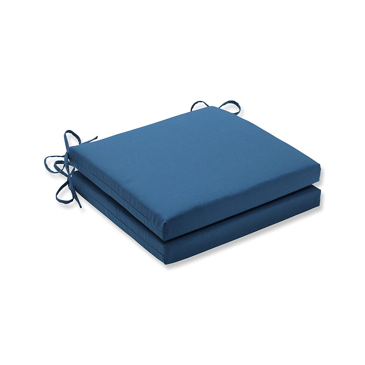 Pillow Perfect Indoor Outdoor Squared Corners Seat Cushion Set of 2 with Sunbrella Spectrum Peacock Fabric, 20 in. L X 20 in. W X 3 in. D