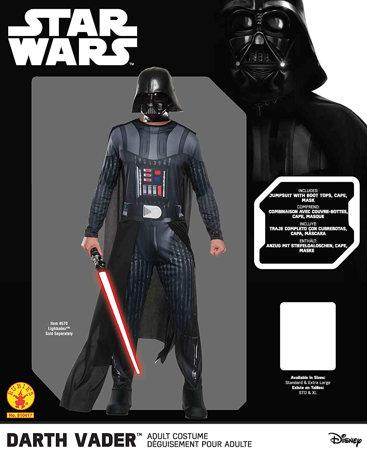 Rubies Costume Co Mens Star Wars Classic Darth Vader Costume