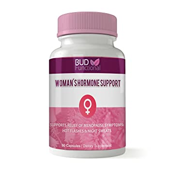 Bud Functional Menopause Relief Supplement - with Vitex, Red Raspberry -  for Hot Flashes, Night