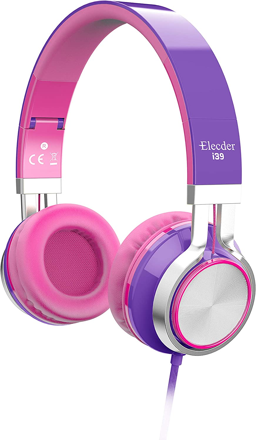 Elecder i39 Headphones with Microphone Foldable Lightweight Adjustable On Ear Headsets with 3.5mm Jack for iPad Cellphones Computer MP3 4 Kindle Airplane School Purple Pink
