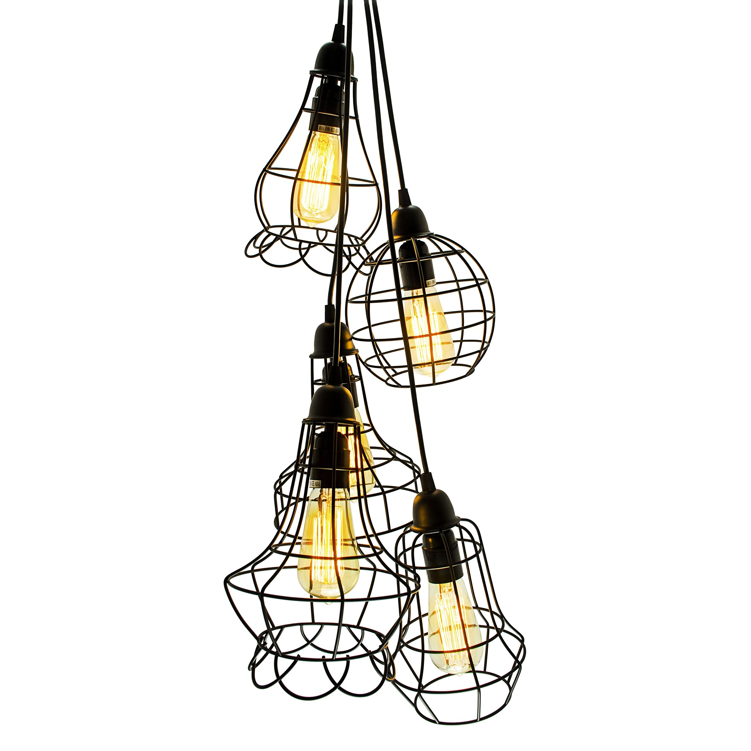 Electro_bp;rustic Barn Metal Chandelier Max 200w with 5 Light Bulbs Included