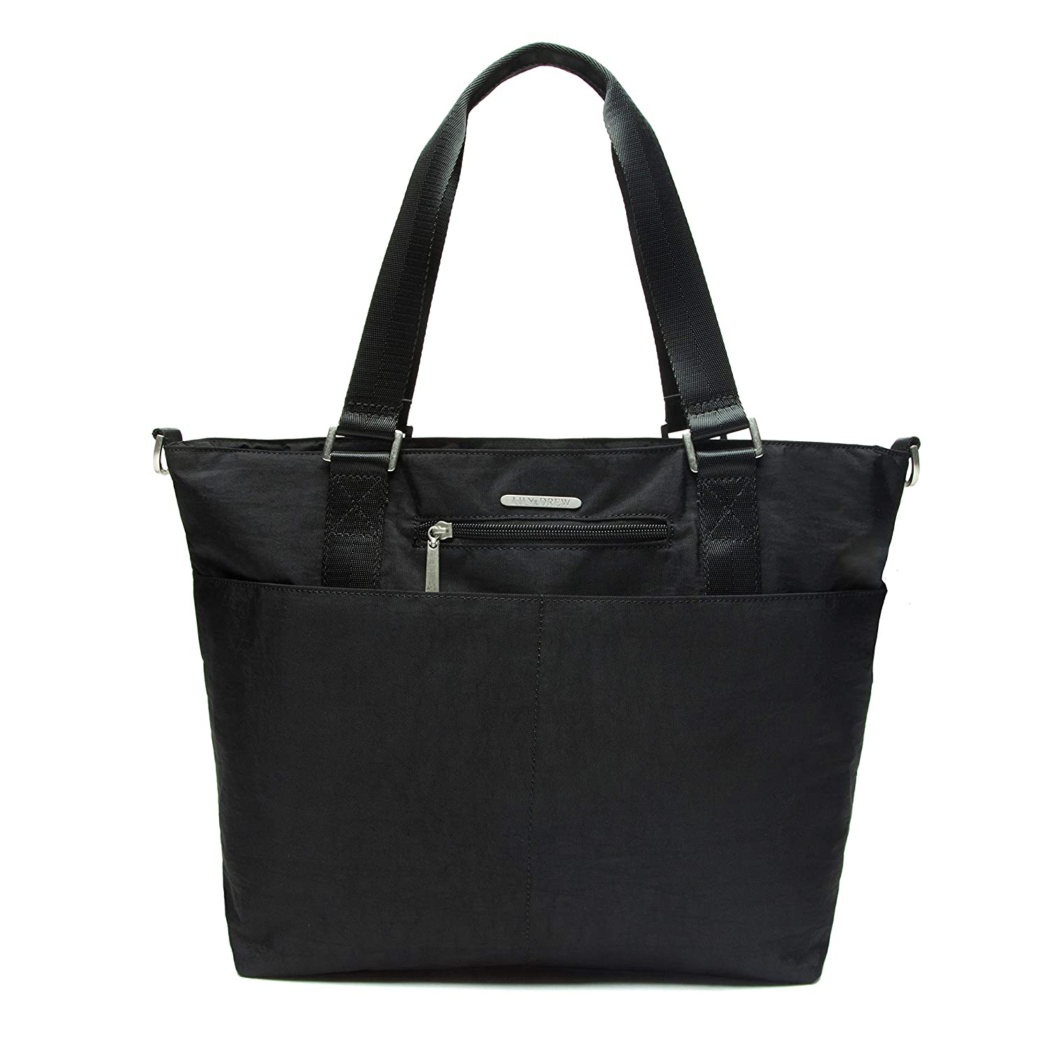 Lily /& Drew Nylon Crossbody Bag for Women with Shoulder Strap Laptop Sleeve Black Luggage Strap