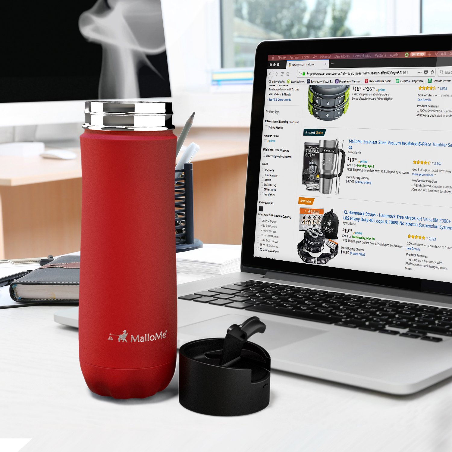 b4dd58f490a ... MalloMe Stainless Steel Coffee Travel Mug – 20 oz Vacuum Insulated  Water Bottle Thermos Flask Cup ...
