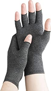Serenily Arhtritis Gloves - Compression Gloves for Women & Men. Carpal Tunnel Gloves for Raynauds Syndrome, Rheumatoid & Osteoarthritis Pain Relief. Hand Compression Sleeve with Fingerless Design (L)