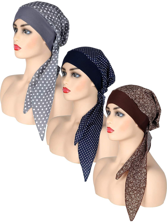 3 Piezas de Turbante de Algod/ón de Mujeres Pa/ñuelos de Cabeza Preatados Bufanda Gorra Impresa Gorro de Dormir de Noche
