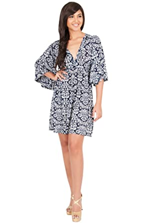 KOH KOH Womens Long Kimono Sleeve Printed V-Neck Floral Casual Short ... f109ee075