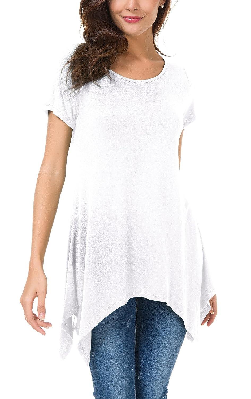 3242b4351f1a Urban GoCo Chemisier Décontracté de Femmes Lâché Tee-Shirt Manche Courte  Confortable Tops Tunique
