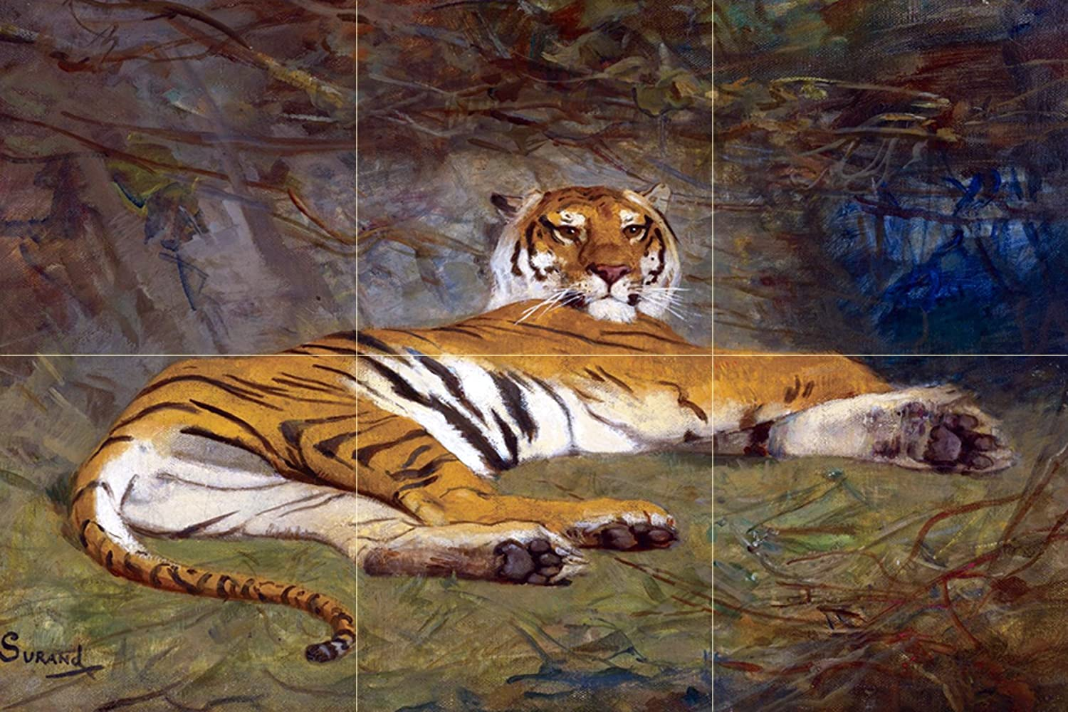 The tiger wild animals g surand tile mural wall for Artwork on tile ceramic mural