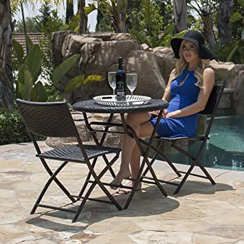 Belleze Folding Table U0026 Chair Bistro Set Rattan Wicker Outdoor Furniture  Seats Resin, ...