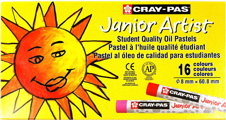 Sakura Cray-Pas Junior Artist Oil Pastels, Assorted Colors, Set of 16