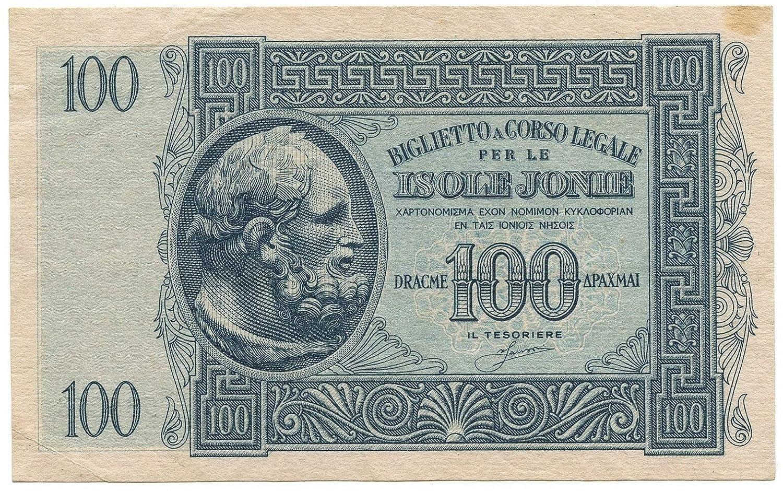 Cartamoneta  100 DRACME Occupazione Italiana Grecia Biglietto Isole Jonie APRILE 1942 BB SPL
