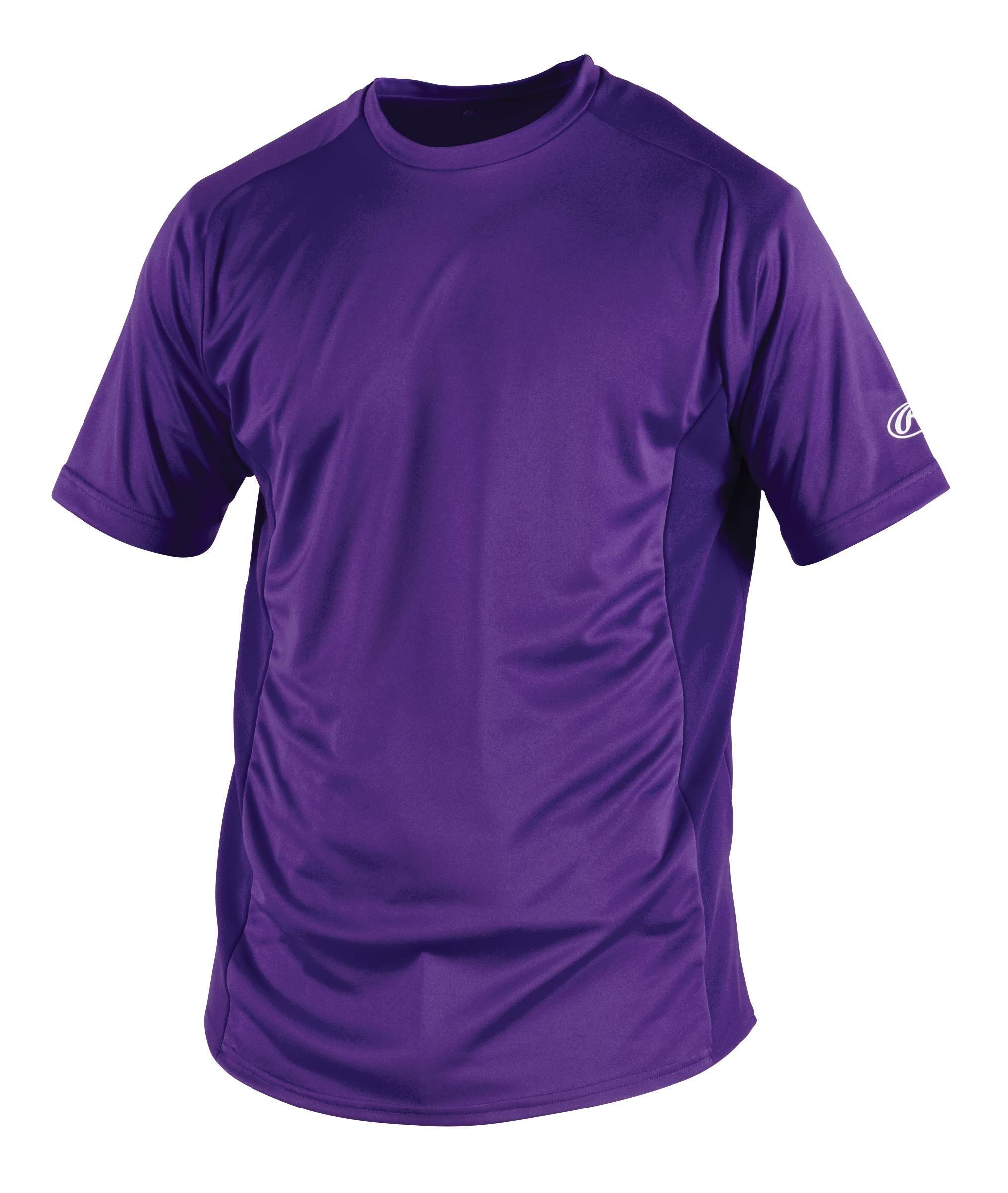 Rawlings Men's Short Sleeve Baselayer Shirt, Purple, Large by Rawlings