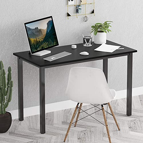 Eyabuynar Computer Desk Office Writing Table Easy Assembly Laptop PC Table Workstation 55×23.6 inch, Black Black Leg