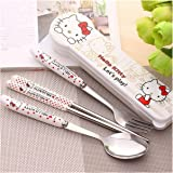 Portable Cute Cartoon Spoon Fork Chopsticks Stainless steel travel tableware Set (Hello Kitty)
