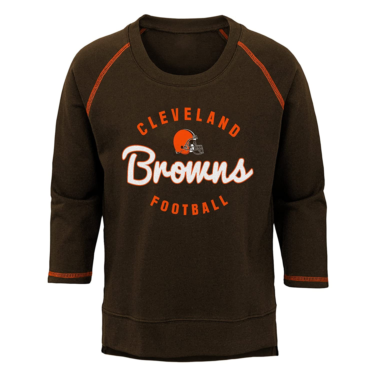 NFL Cleveland Browns Youth Boys Overthrow Pullover Top Brown Suede Youth Medium 10-12