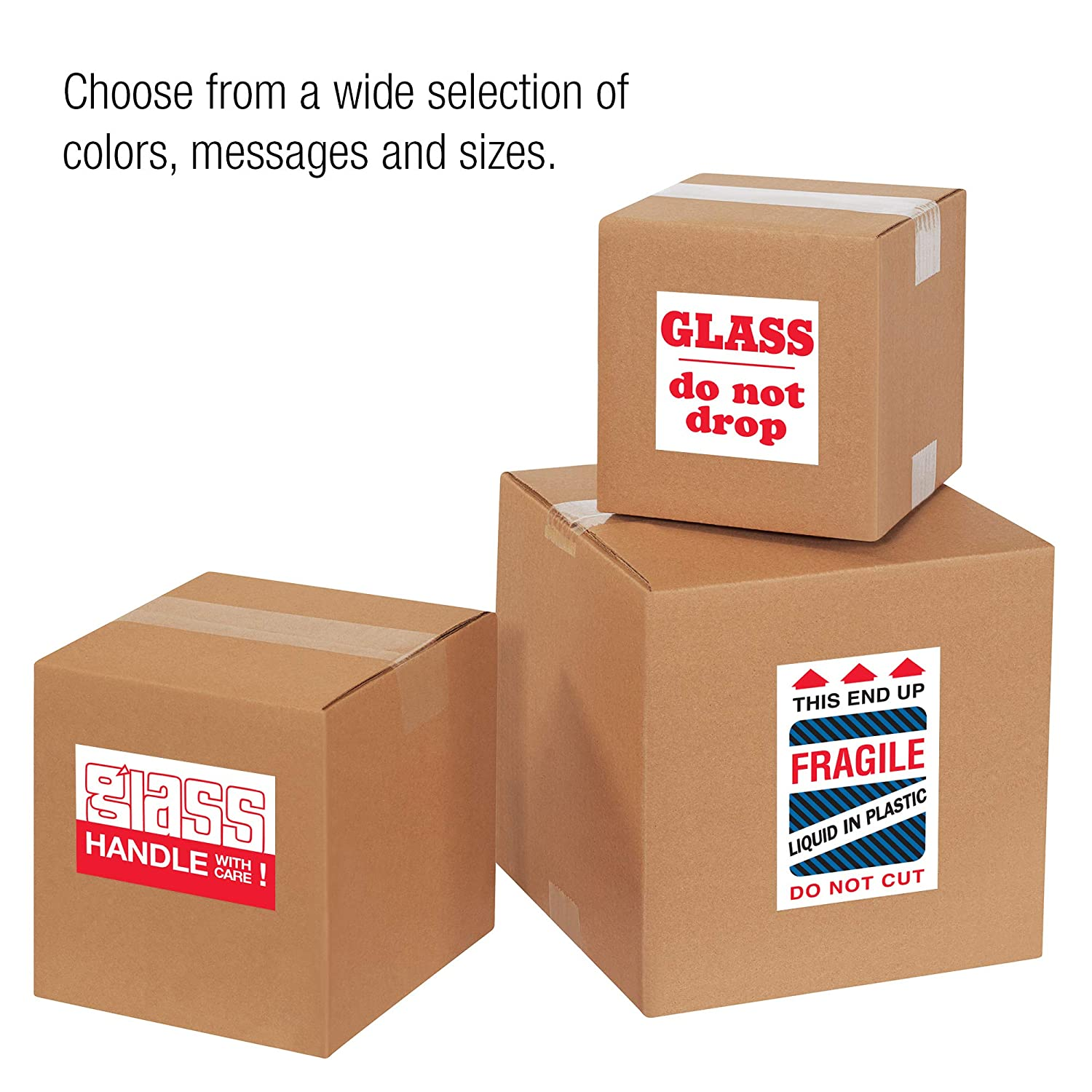 1 Roll Handle with Care Labels//Stickers 500 Labels Per Roll 2 x 3 Fragile Glass Red//White
