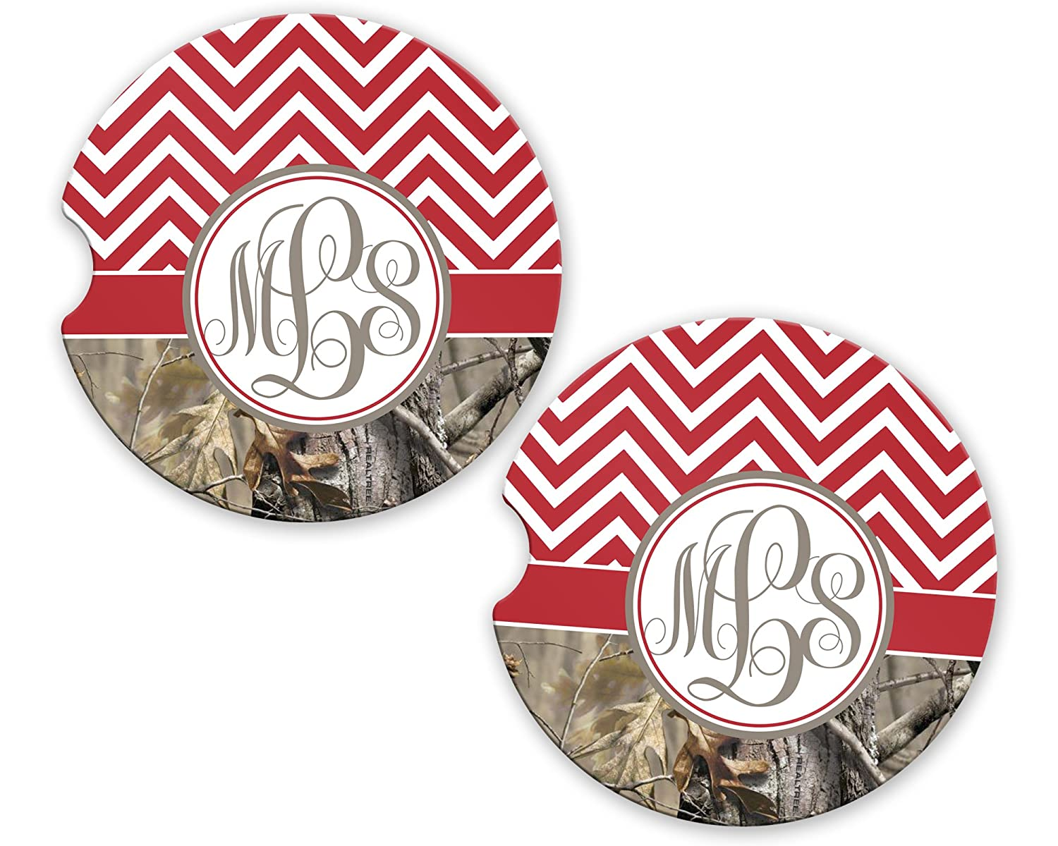 BrownInnovativeMedia Red Chevron Camo Personalized Monogram Sandstone Car Cup Holder Matching Coaster Set