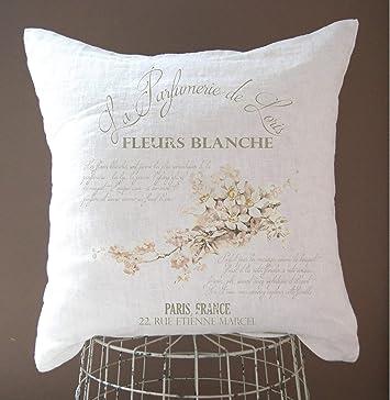 Claude6yhAly Taie d'oreiller en Lin Style Shabby Chic Décoration de Campagne française Décoration de Ferme Rustique