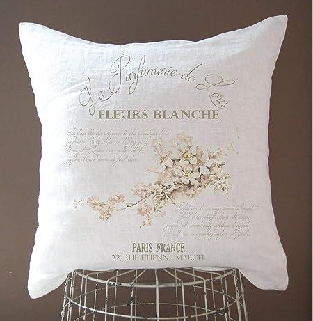 Alicert5ii Housse De Coussin En Lin Style Shabby Chic Decor Campagne Francaise Decoration Ferme Rustique Vintage